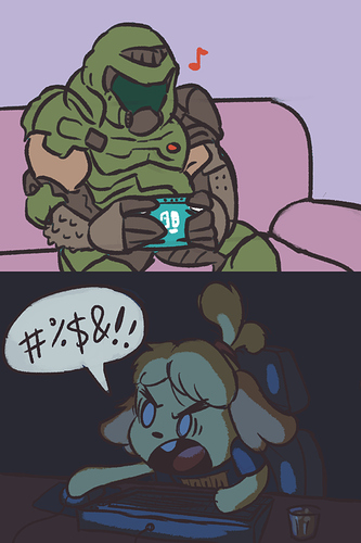 1180721_peppertroopa_doomguy-and-isabelle-on-march-20th